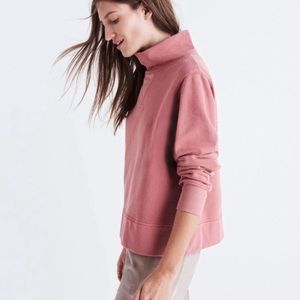 Madewell Dusty Rose Funnel Neck Sweatshirt Pink